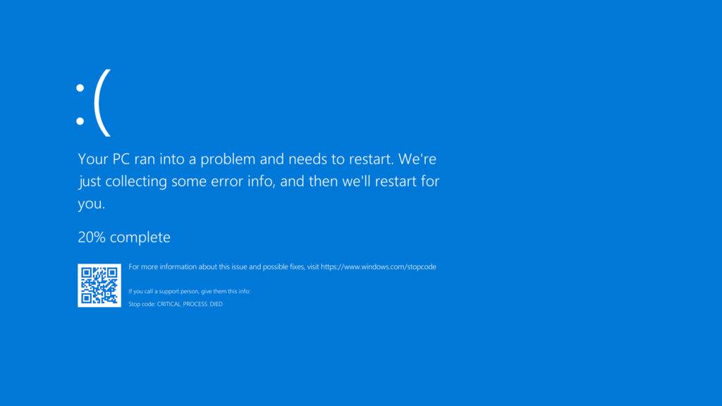 blue screen of death for article murphys law of computing